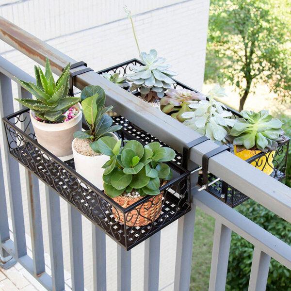 salmopho [กระถางดอกไม้/Giá treo chậu hoa] Iron Balcony Hanging Flower Rack Pot Stand Plant Storage Railing Shelf Decoration Singapore