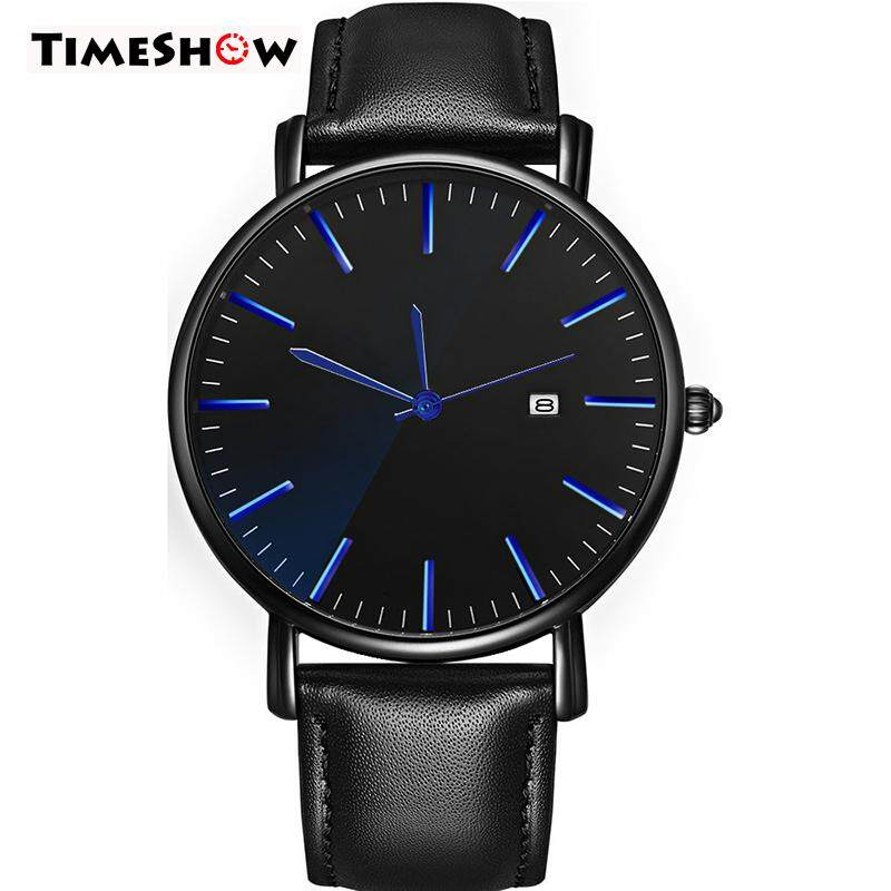TimeShow Mens Waterproof Quartz Watch Round Dial Wrist Watches with Leather Belt Malaysia