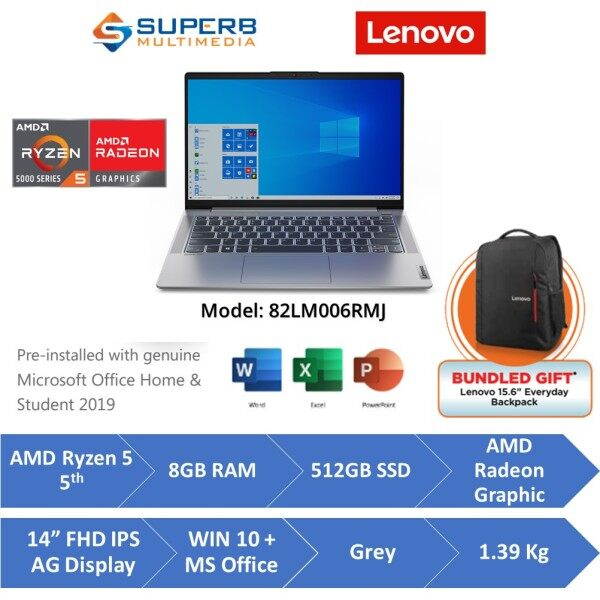 Lenovo IP5 82LM006RMJ Laptop (AMD Ryzen 5 5500U, 8gb ram, 512gb ssd, 14 FHD IPS, Win10, OPI, Grey) Malaysia