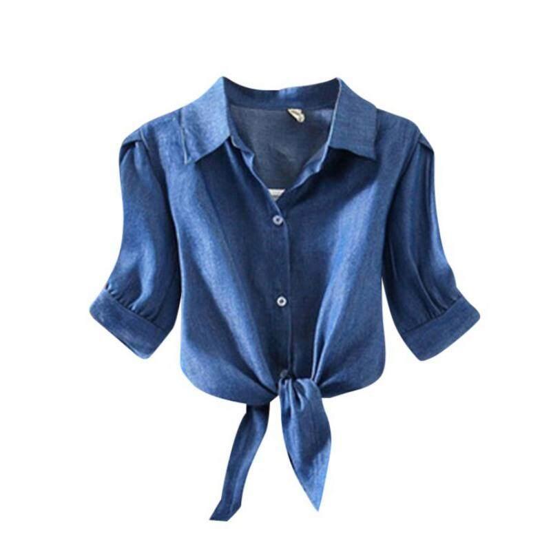 01dac34e6c8608 Women's summer Korean Style Half Sleeves Turn-down Collar Short Sleeves  Striped Print Shirts Tops