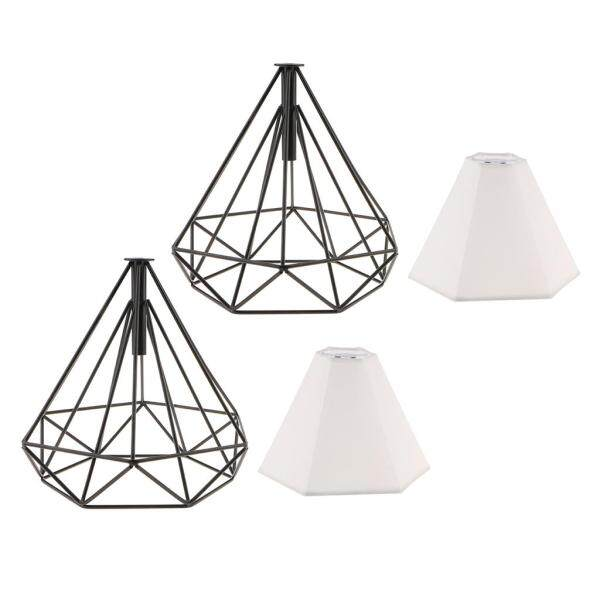 Perfk 2x Vintage Style Hanging Pendant Light Fixture Cage Lamp Lampshade