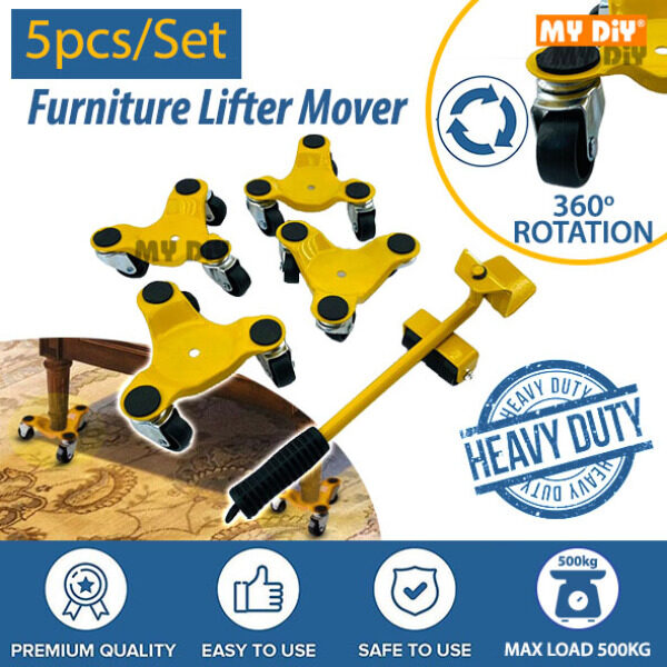 MYDIYHOMEDEPOT - Heavy Duty 5pcs/Set Furniture Lifter Mover Transport Device Tool Max Load 500kg Wheel Caster Kit / Alat Pindah Rumah Mover Transport set Mover and Slider / Furniture Moving Dolly