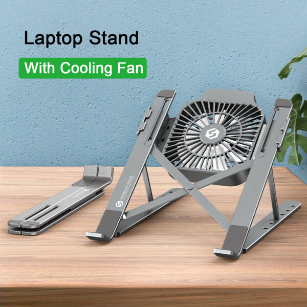 Ctron 【New Arrival】Laptop Stand Holder With Cooling Fan Portable Foldable Aluminum Alloy Notebook Holder
