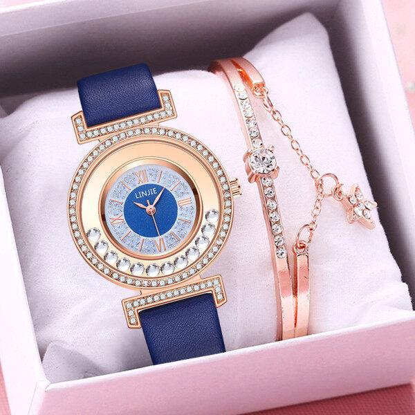 SNKJKW LINJIE Ladies Fashion Quartz Watch Leather Strap Watch Analog Watch Set  watch for women sale original Malaysia