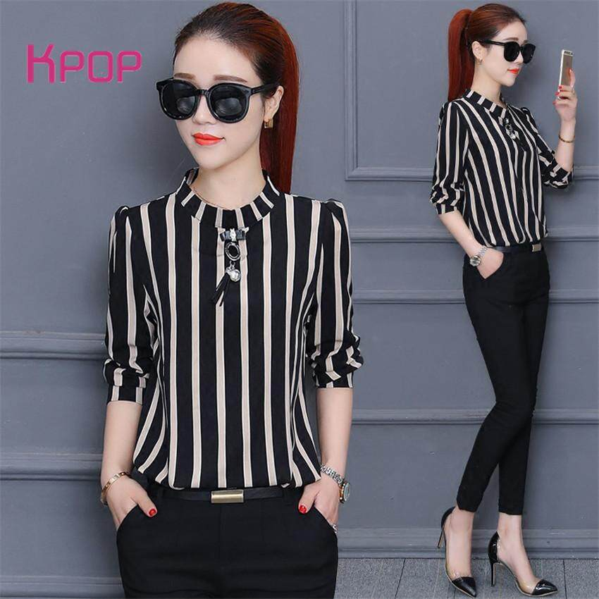 f7f044a19 【Special Today】Kpop Fashion Korean Style Oversized Shirt Vertical Striped  Shirt Seven-point