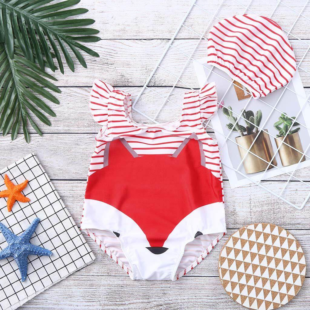 ae83cfa87030e Rayeshop Toddler Baby Kids Girl Cartoon Swimwear Swimsuit Beach Romper  Clothes Hat Outfit【Reference size