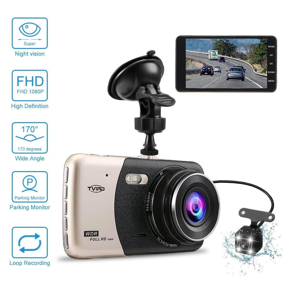 Dash CAM FHD 1080 P 4.0 ''IPS หน้าจอ 170 ° มุมกว้างด้านหน้าและด้านหลังรถแบบมีสองเลนส์ Camera Dashboard Camera DVR G - Sensor การตรวจจับการเคลื่อนไหวที่จอดรถ