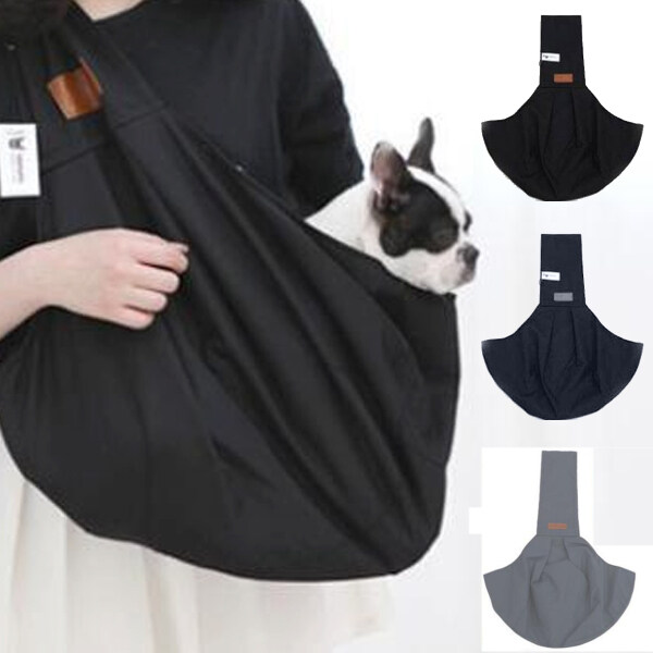Pet Dogs Cats Carrier Backpack Canvas Front Bag Legs Out Hand Free Sling Padded Strap Tote Bag Breathable Shoulder Bag Front -- Navy Blue/ Black/ Gray