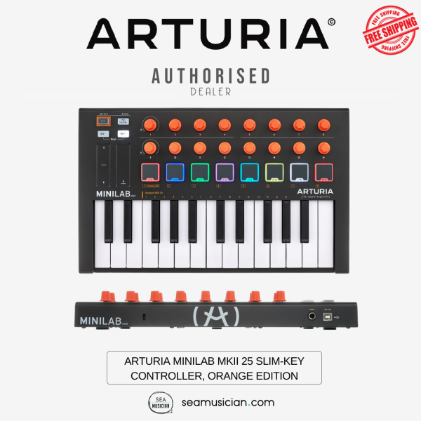 ARTURIA MINILAB MKII 25 SLIM-KEY CONTROLLER WITH 16 ENCODERS, 2 BANKS OF 8 PADS, PITCH/MOD TOUCH STRIPS-ORANGE EDITION Malaysia