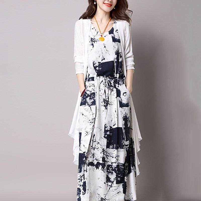 2pcs/set Women Sundress + Cardigan Summer Mulsim Dress Ink Printing Maxi Dresses By Veecome.