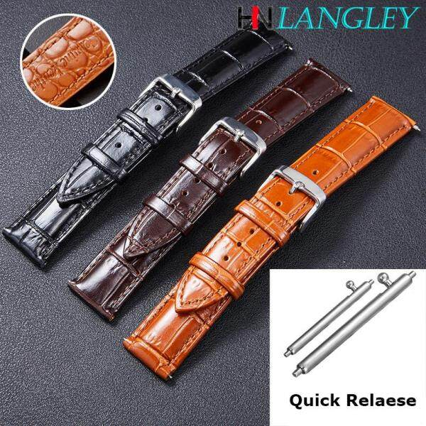 LANGLEY Watch Band High Quality Genuine Leather Watch Straps Cowhide Handmade WatchStrap Quick Release Stainless Steel Buckle 18/19/20/21/22mm Malaysia