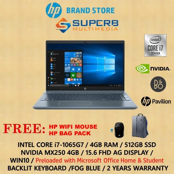 HP 15-cs3136tx silver or 15-cs3137tx blue (Intel Core i7, 4GB RAM, 512GB SSD, MX250 4GB, Win10, OPI) Malaysia