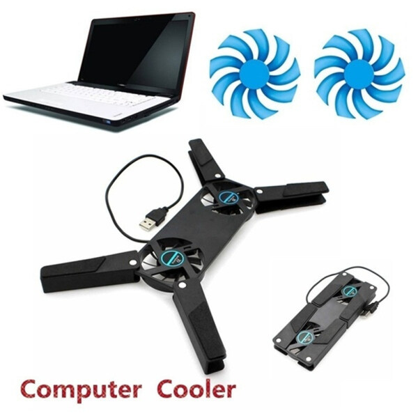Slim Computer for Notebook Laptop Accessories Smart Cooling Pads 2 Fans Cooler Stand Cooler Fans Malaysia