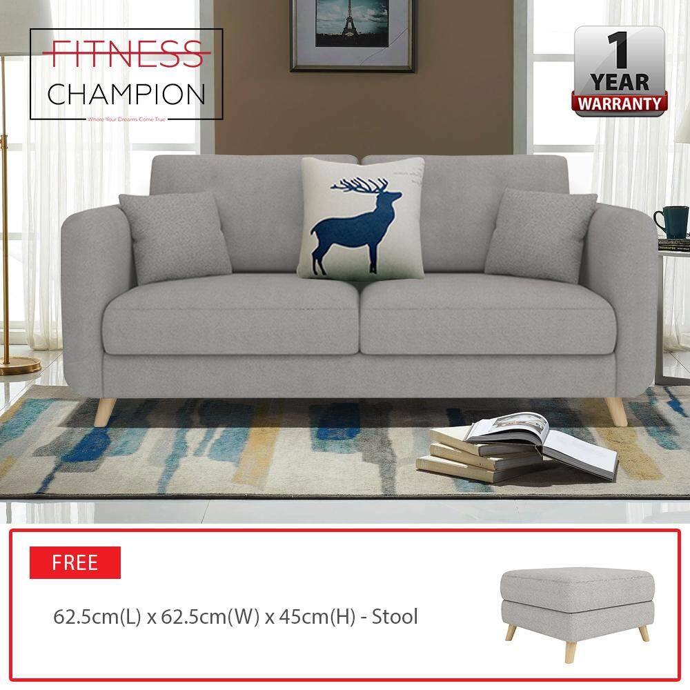 FITCHAMP : ROOSEVELT 2 Seater Sofa Home & Living Room Furniture with FREE Stool