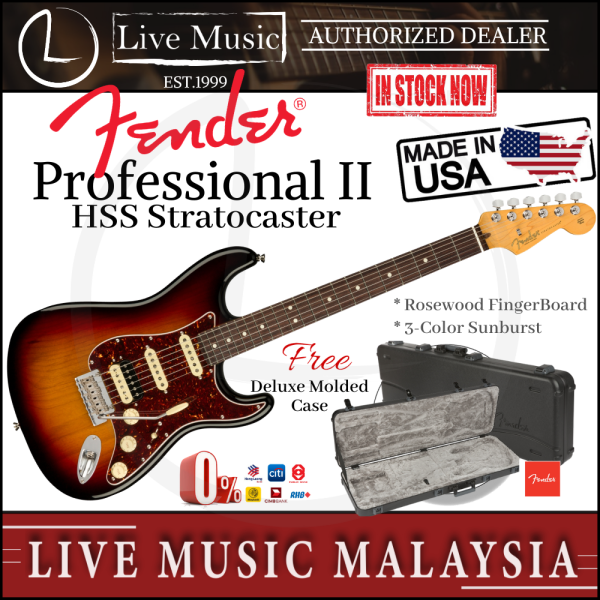 Fender American Professional II HSS Stratocaster Electric Guitar, Rosewood Fretboard - 3-Tone Sunburst Malaysia