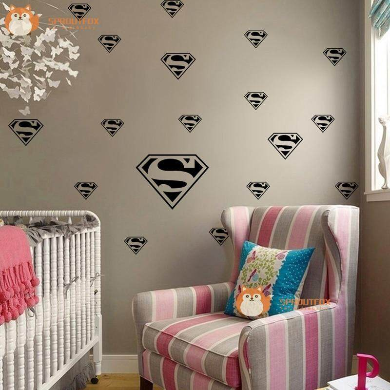 Superman Logo Set Wall stickers Removable Vinyl Wall Decals Nursery Home Decor