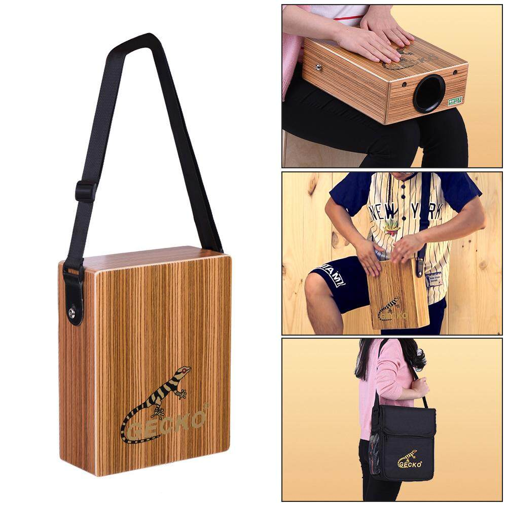 GECKO C-68Z Portable Traveling Cajon Box Drum Hand Drum Wood Percussion Instrument with Strap Carrying Bag
