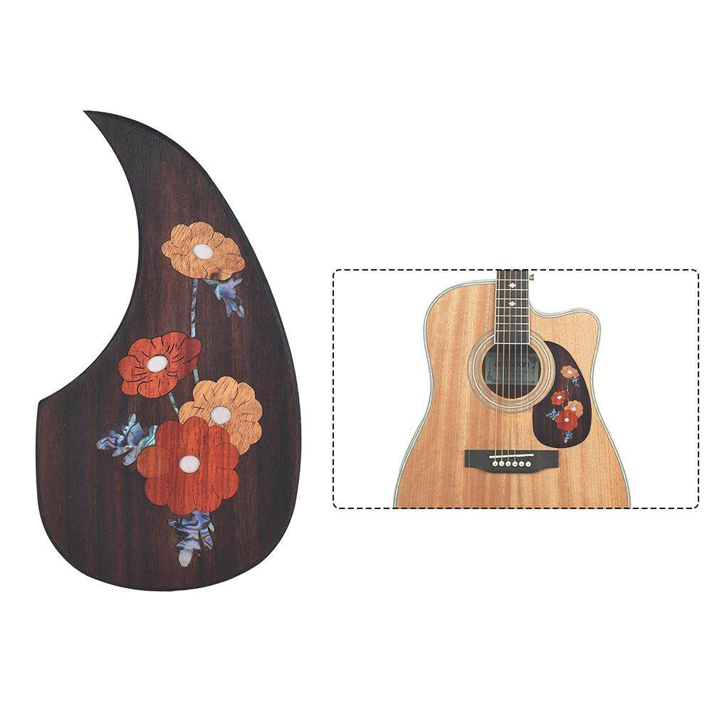 "Wooden Guitar Pickguard for 40"" 41"" Acoustic Guitars Ebony black with Decorative Flower Pattern"