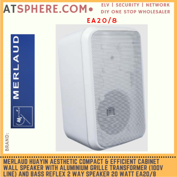 Merlaud Huayin Aesthetic Compact & Efficient Cabinet Wall Speaker with Transformer and BASS-Reflex 2 Way Speaker EA20/8
