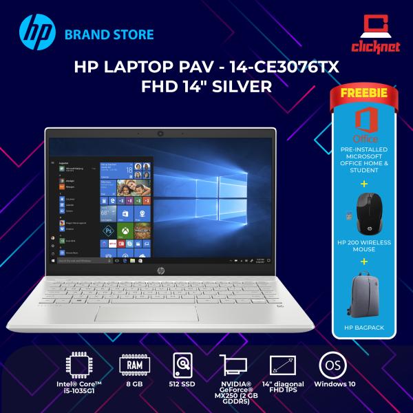 HP Pavilion - 14-ce3076tx FHD 14 Silver (i5-1035G1, 8GB, 512GB SSD, MX250 2GB, W10H) Malaysia