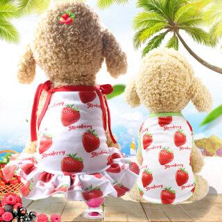 DY Loving Trang phục cho chó mùa hè đồ đôi váy cho chó áo thoáng khí cho chó váy dây xếp nếp in họa tiết dâu tây cho chó thumbnail