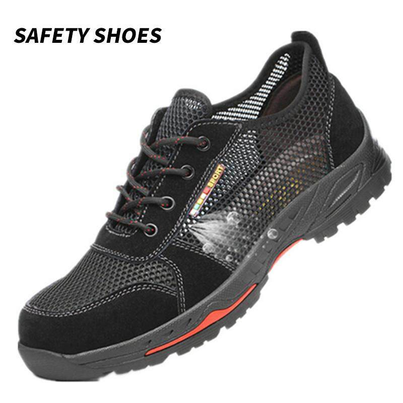 【Ready Stock】Men Fashion Safety Shoes Comfortable Breathable Nonslip Anti-Puncture Heavy Duty
