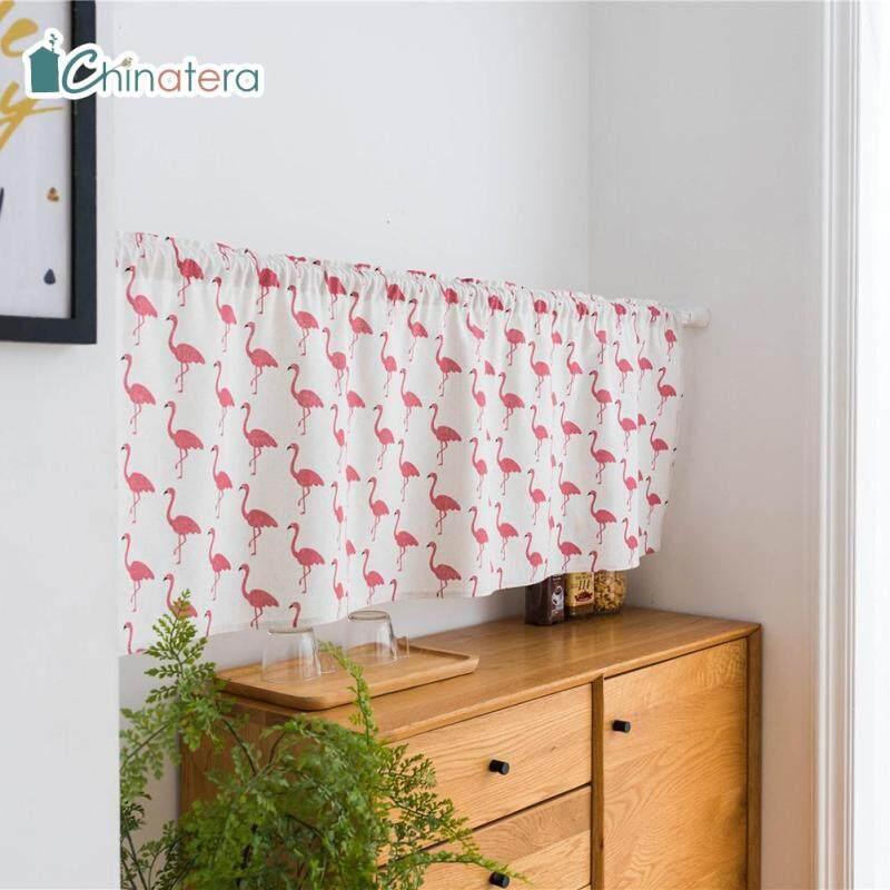 [Chinatera] 150X45Cm Phong Cách Nhật Bản Lưới Sọc Flamingo Cá Voi In La Mã Rèm Ngắn Màn Cửa Sổ Nửa Rèm Ban Công Tủ Bếp Bảng Điều Khiển Ngắn Drape Valance