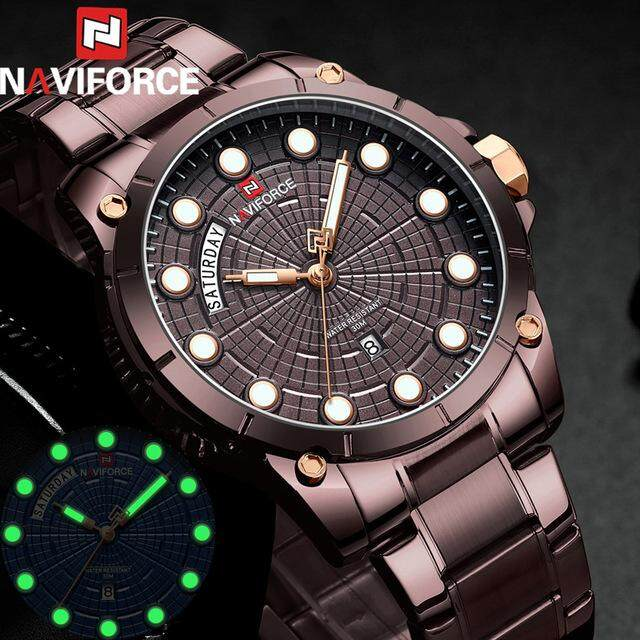 a769b7a9d89 NAVIFORCE Watches Men Watch Luxury Stainless Steel Mens Watches Top Brand  Luxury Brown Style Men s Wristwatch