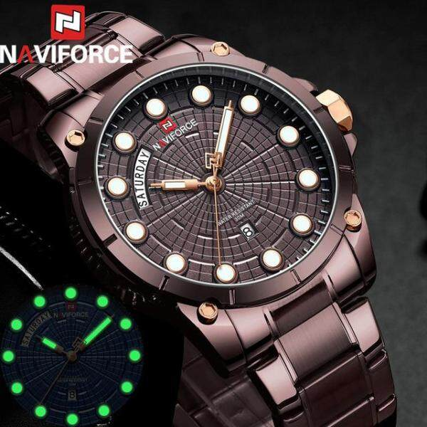 NAVIFORCE Watches Men Watch Luxury Stainless Steel Mens Watches Top Brand Luxury Brown Style Mens Wristwatch Clock Men Watch Malaysia