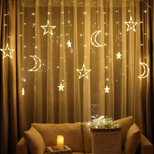 Lovely 2.5m Star Curtain Light Moon Lighting String For Indoor Outdoor Decoration - EU Plug