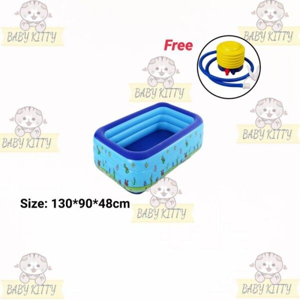 Local Stock BabyKitty2020 3 Rings Inflatable Rectangular Outdoor Swimming Pool Family Kolam Berenang Must Have