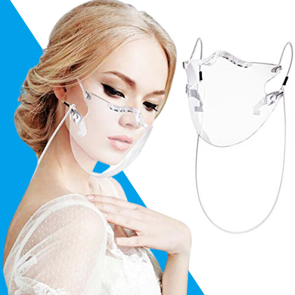 Johome[In Stock][Free Shipping] NEW Fashionable Transparent Protective Face_Mask with Lanyard,Anti-fog reusable durable plastic Face_Shield protection with nose line