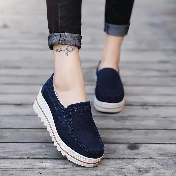 5a683667b438 Fashion Womens Breathable Suede Round Toe Slip On Platform Shoes Wedges