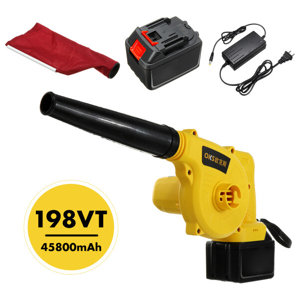 2 in 1 Handheld Blower Vacuum Mulcher Cordless Electric Air Speed Powerful Home - Orange