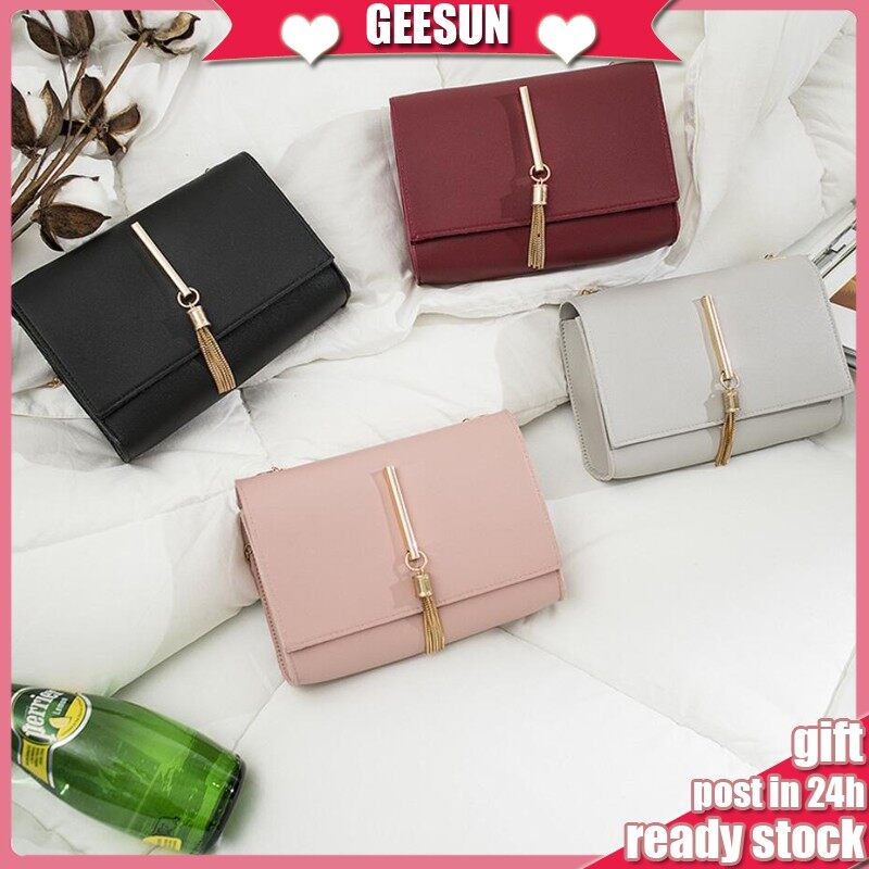 Ready Stock �GEESUN Korean Tassel Chain Womens Sling Bag Shoudler Bag perempuan Handbag Tangan Wanita Clutch Pouch 283