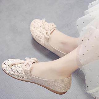 Giày Thuyền COD & Giày Lười Nữ, Giày Đan Đế Bằng Đan Lỗ Thời Trang Thoải Mái Cho Nữ, Giày Thường Ngày Phong Cách Hàn Quốc thumbnail