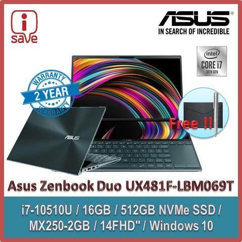 ASUS Laptop Zenbook DUO UX481F-LBM069T 14  FHD Celestial Blue ( I7-10510U, 16GB, 512GB, MX250 2GB, W10 ) Malaysia