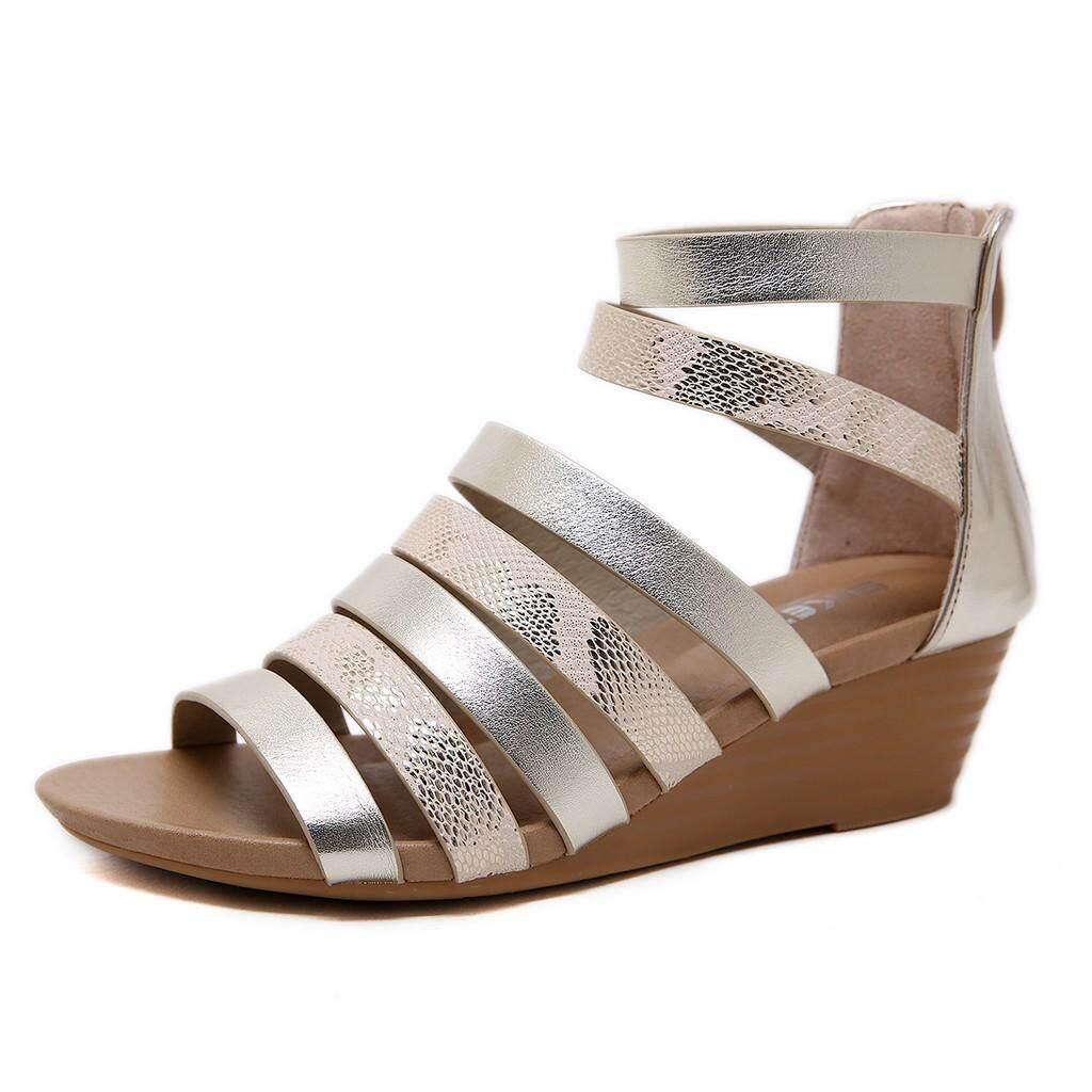 【Angel's tears】 New Trendy Shoes Plus Size Women Summer Women's Ladies Roma Snake Wedges Peep Toe Zipper Sandals Casual Shoes Female - intl