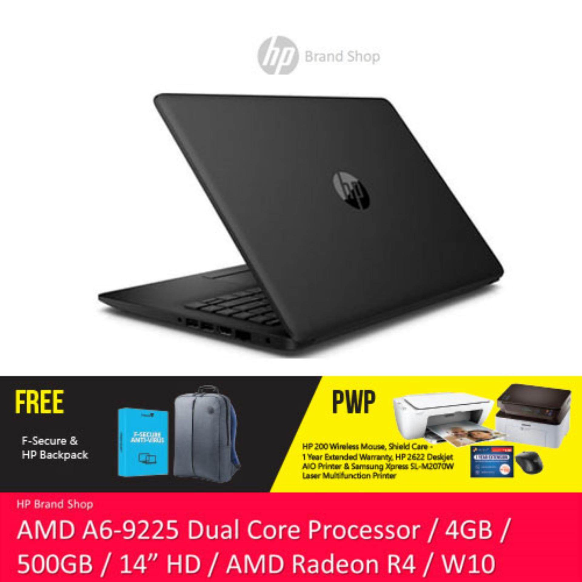 NEW HP 14-CM0087AU / 14-CM0088AU 14 HD Laptop (AMD A6-9225, 500GB, 4GB, AMD Radeon R4, W10) - (Black/Red) [Free HP Backpack + F-Secure 1 Year Client Security] Malaysia