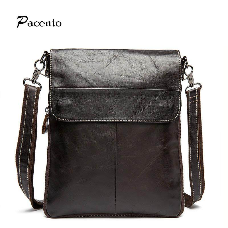 Pacento Genuine Leather Waterproof Crossbody Messenger Shoulder Bag Men Business Cowhide Handbag High Quality Travel Casual Male Bags
