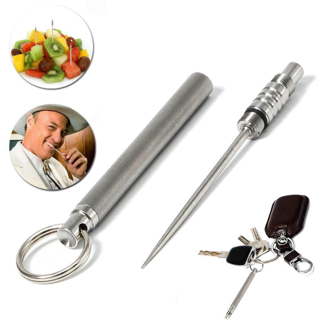 Edc Titanium Rustproof Toothpick Fruit Fork Survival Hygiene Travel Kit Tc4 Ti New By Grubbstore.