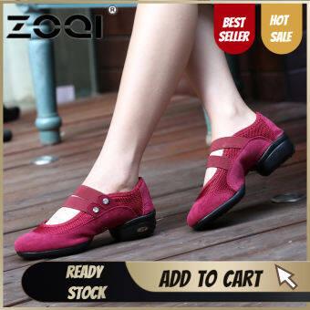 ZOQI อ่อนนุ่มพื้นรองเท้ารองเท้าเต้นรำลมหายใจผู้หญิงกีฬาคุณสมบัติ DanceSneakers ผู้หญิงรองเท้าเต้นรำ move สนุก