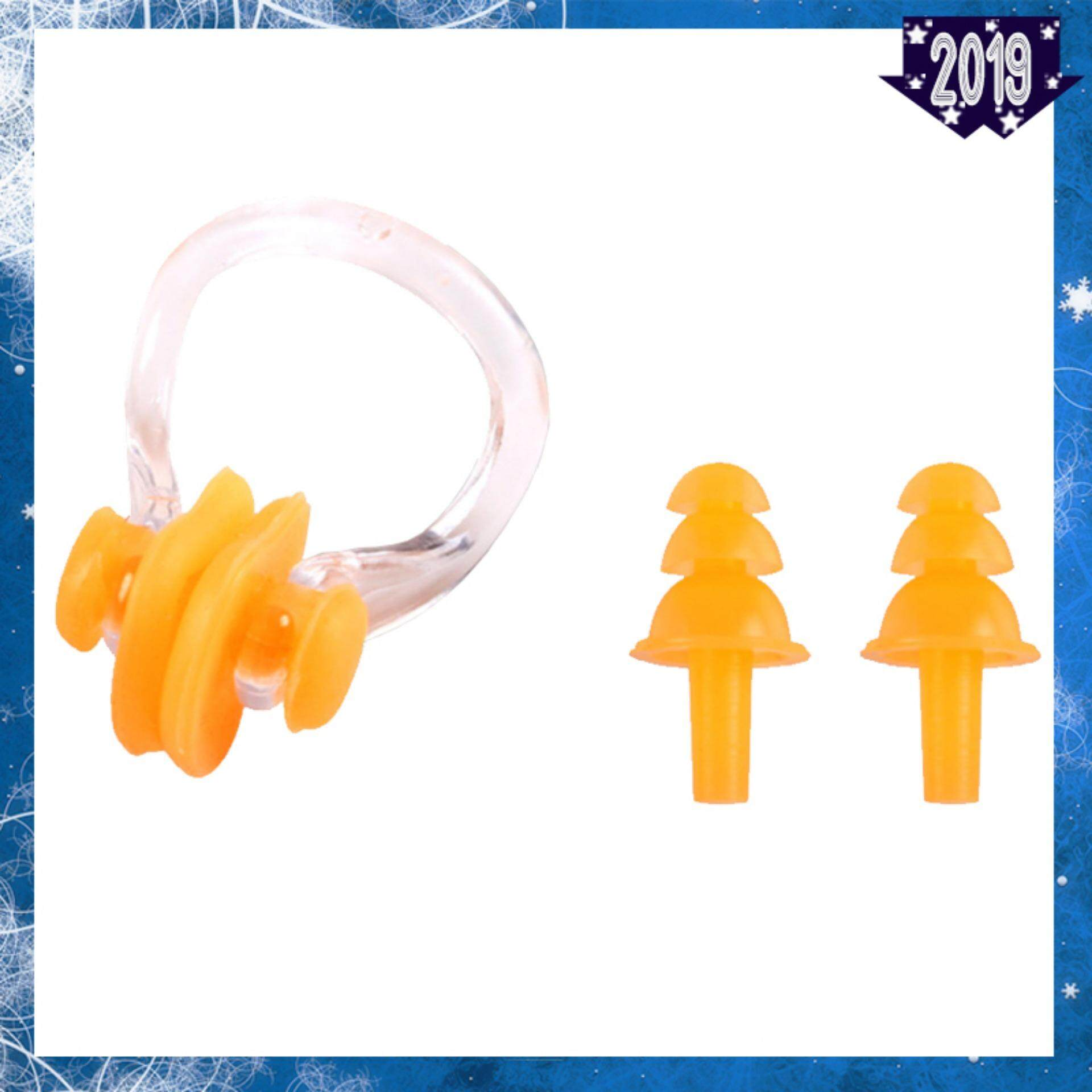 Youyou Silicone Earplugs And Nose Clip Swimming Set Protector For Adults - Orange By Every1.