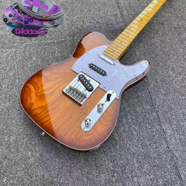 Tele Electric Guitar Swam Ash Sunburst Wax Potted SSS pickups 22 frets maple fingerboard,Daddario strings Malaysia