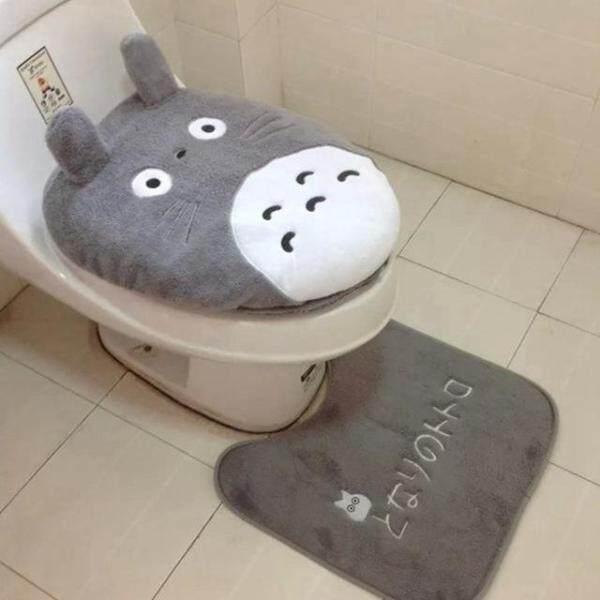 Bộ 03 Tấm Bọc Ghế Bồn Cầu Thiết Kế Hoạt Hình Totoro, Thảm Bọc Nắp Bồn Cầu Phòng Tắm-Intl