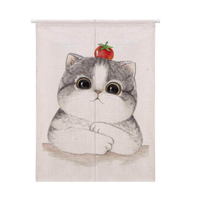 Cartoon Animal Printed Cotton And Linen Japanese Style Noren Doorway Curtain Hanging Tapestry