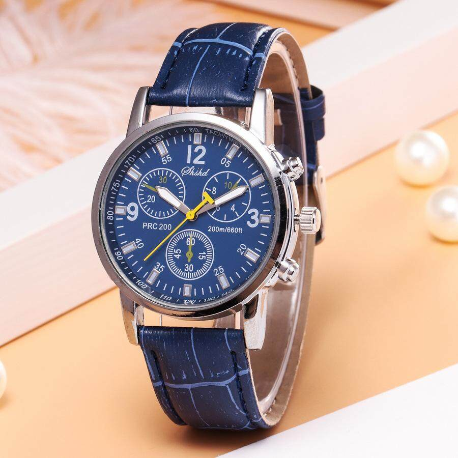 2019 Mens Watches Top Brand Luxury Casual Watch Clock Faux Leather Mens Analog Quartz Watches Blue Ray Wristwatch SLWMC01 Malaysia