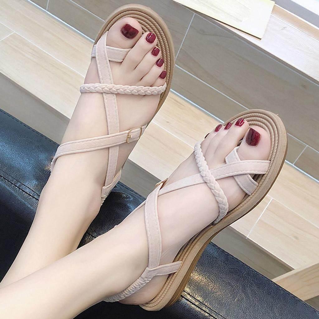 ITOWNY Mùa Hè Nữ Đáy Bằng La Mã Giày Sandal Hoang Dã Dây Đeo Chéo Kẹp Mũi Giày Đi Biển