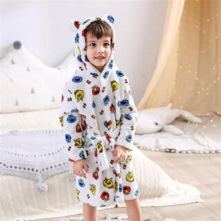 IHOME LIFE Áo Choàng Tắm Cho Trẻ Em Váy Ngủ Trẻ Em Ngoại Cỡ Màu Trơn Mềm Rộng Thời Trang Hàn Quốc Cotton Trên Bán Đồ Ngủ In Hình Hoạt Hình Nhẹ Tại Nhà Thường Ngày, 2021 Mới thumbnail