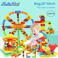 Bộ đồ chơi 100/200 mảnh khối xây dựng HelloKimi bằng nhựa ABS cao cấp dành cho trẻ em lắp ráp khu nhà